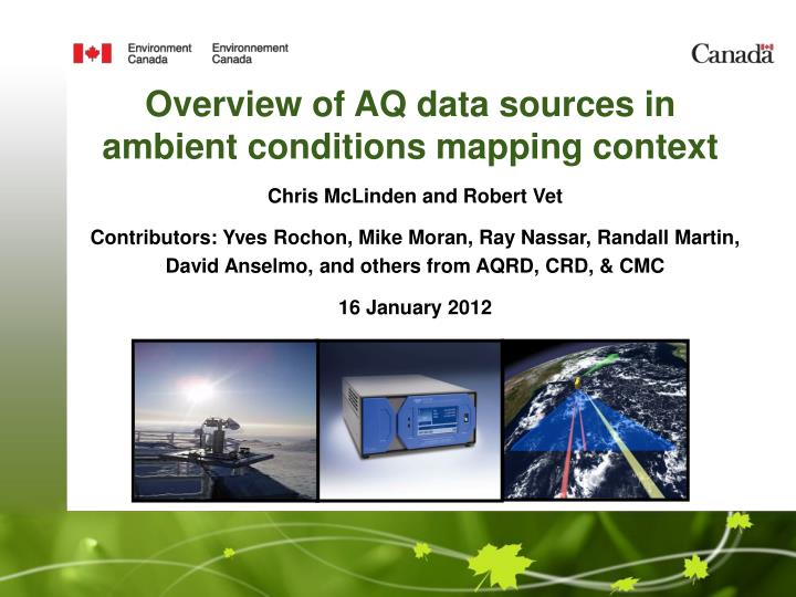 overview of aq data sources in ambient conditions mapping context n.