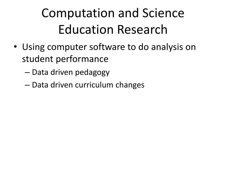 Computation and Science Education Research