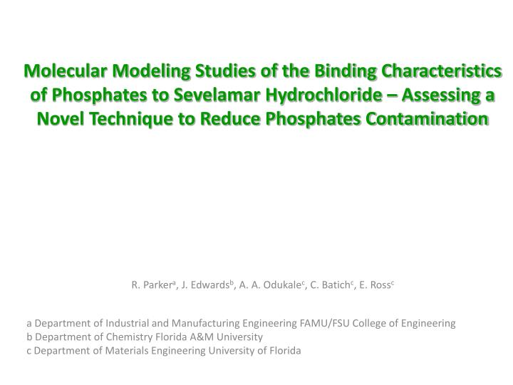 Molecular Modeling Studies of the Binding Characteristics of Phosphates to Sevelamar Hydrochloride – Assessing a Novel Technique to Reduce Phosphates Contamination