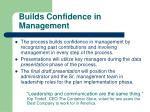 builds confidence in management