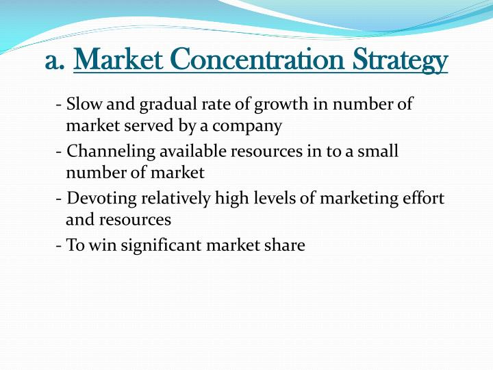 high degree of market concentration In economics, a concentration ratio is a measure of the total output produced in an industry by a given number of firms in the industry the most common concentration ratios are the cr4 and the cr8, which means the market share of.