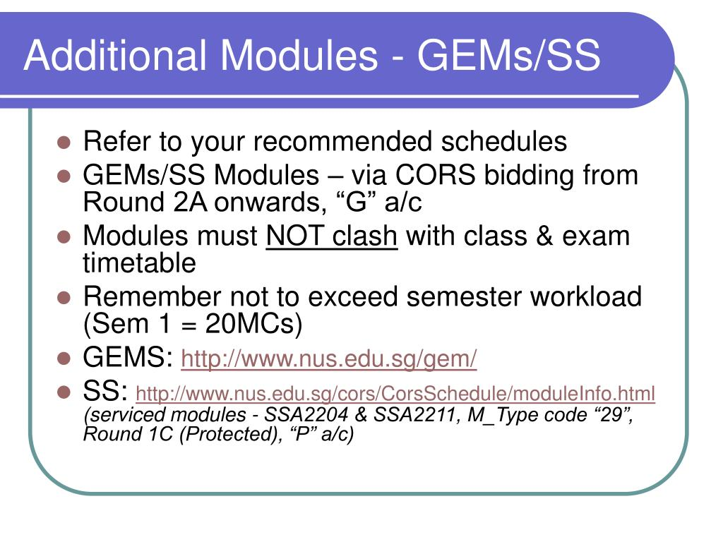 Additional Modules - GEMs/SS