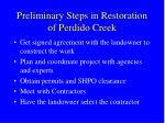 preliminary steps in restoration of perdido creek