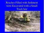 reaches filled with sediment were excavated with a small track hoe