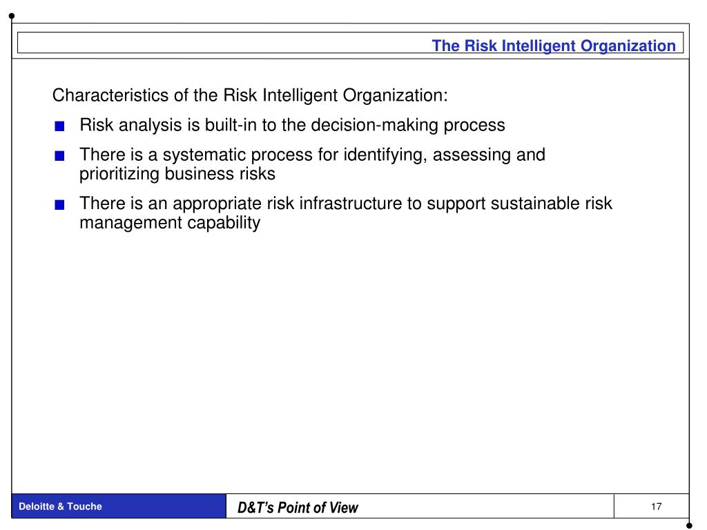 PPT - Operational Risk---Managing and Measuring The Chief Risk