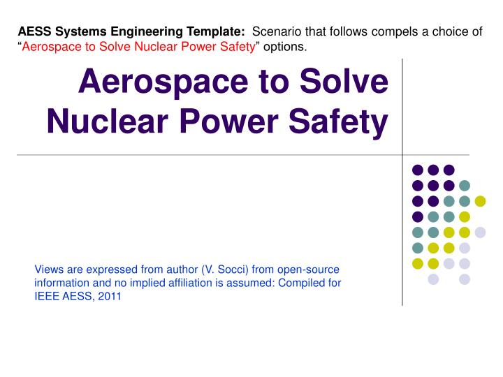 aerospace to solve nuclear power safety n.