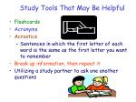 study tools that may be helpful