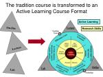 the tradition course is transformed to an active learning course format