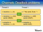 channels deadlock problems