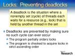 locks preventing deadlocks