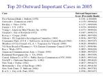 top 20 outward important cases in 2005