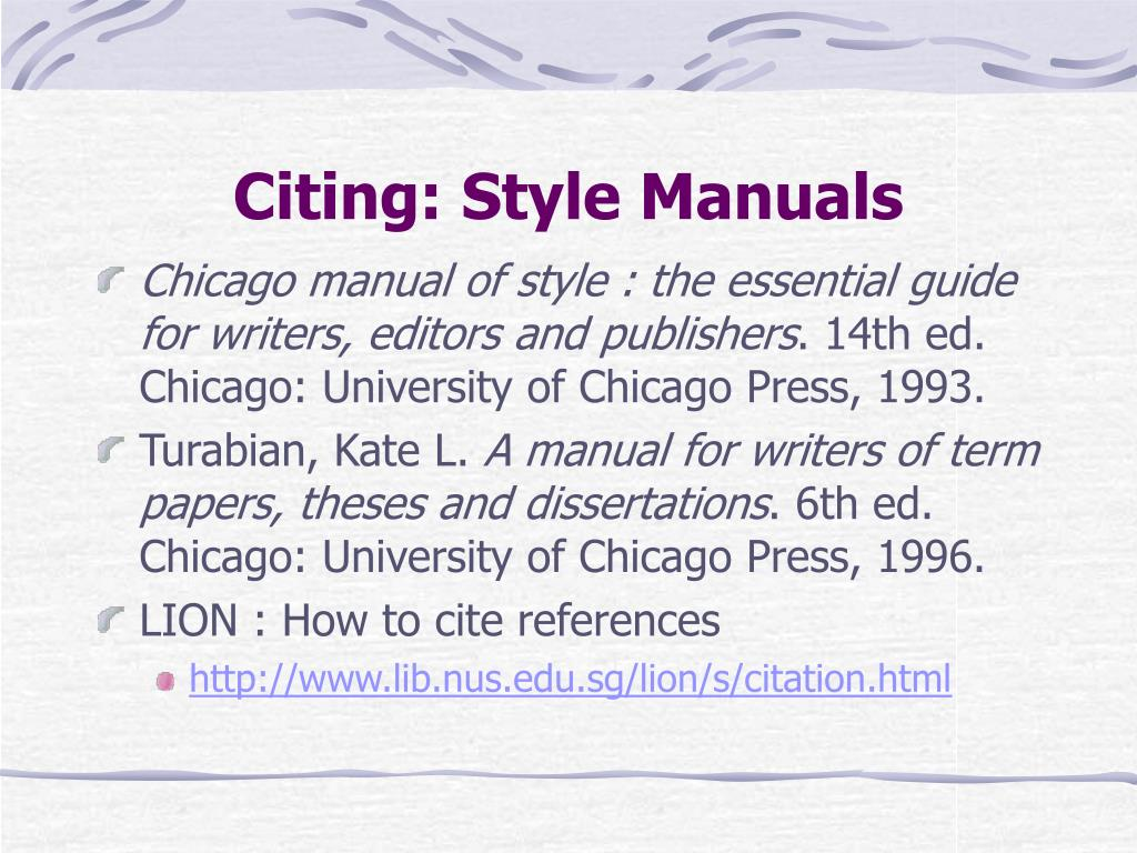 Citing: Style Manuals