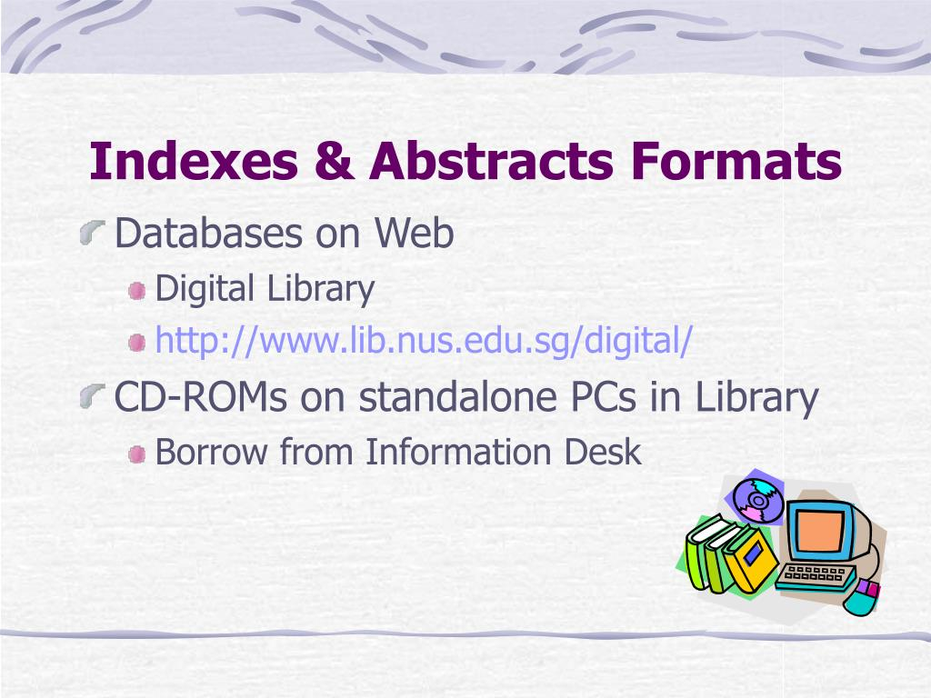 Indexes & Abstracts Formats