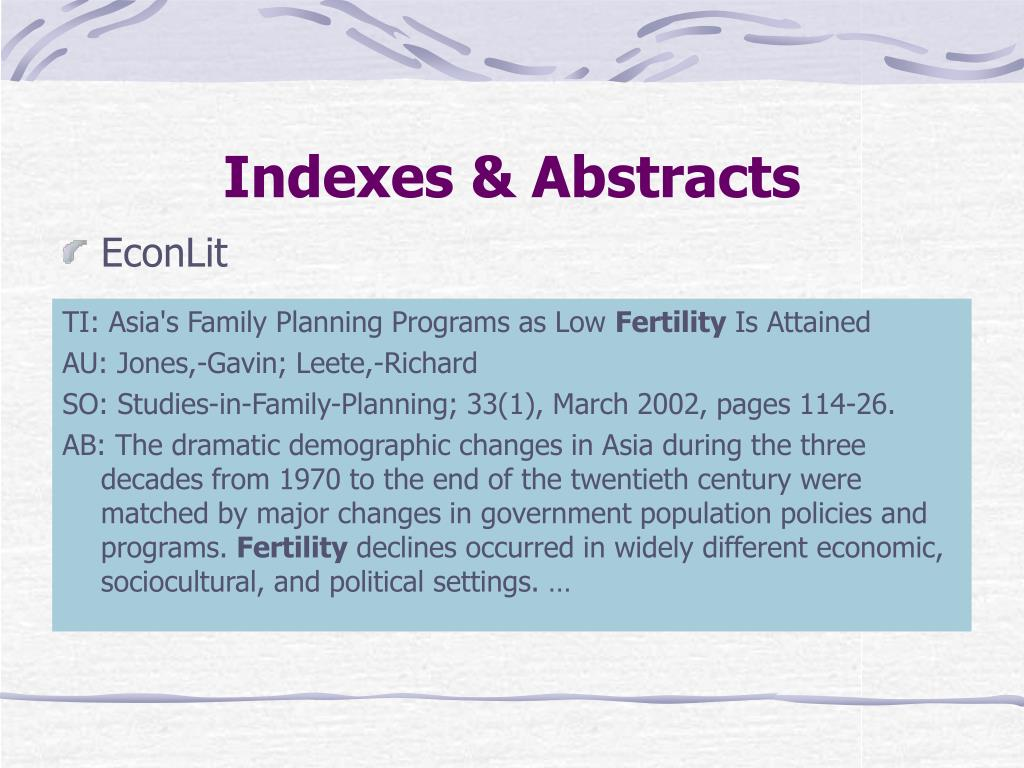 Indexes & Abstracts