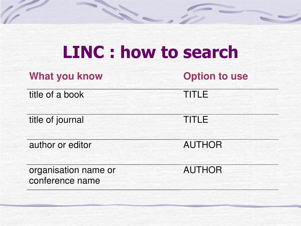 LINC : how to search