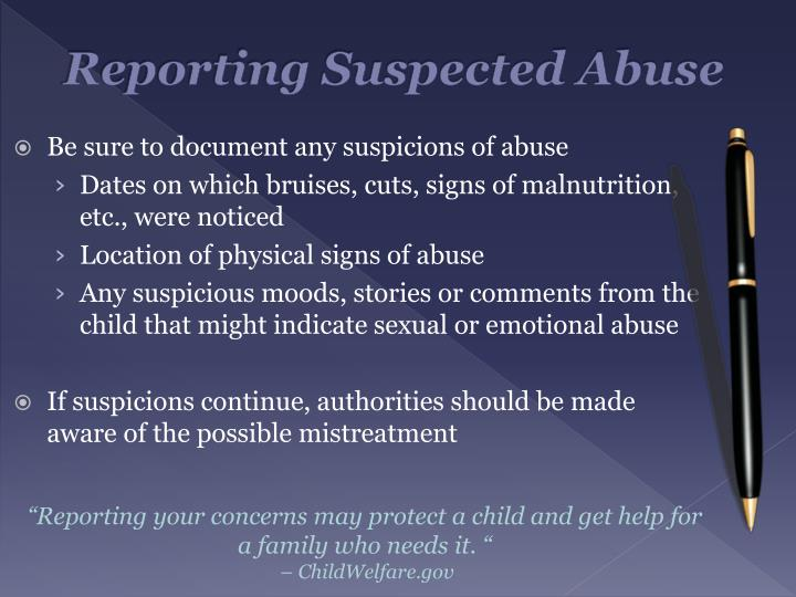 Reporting Suspected Abuse