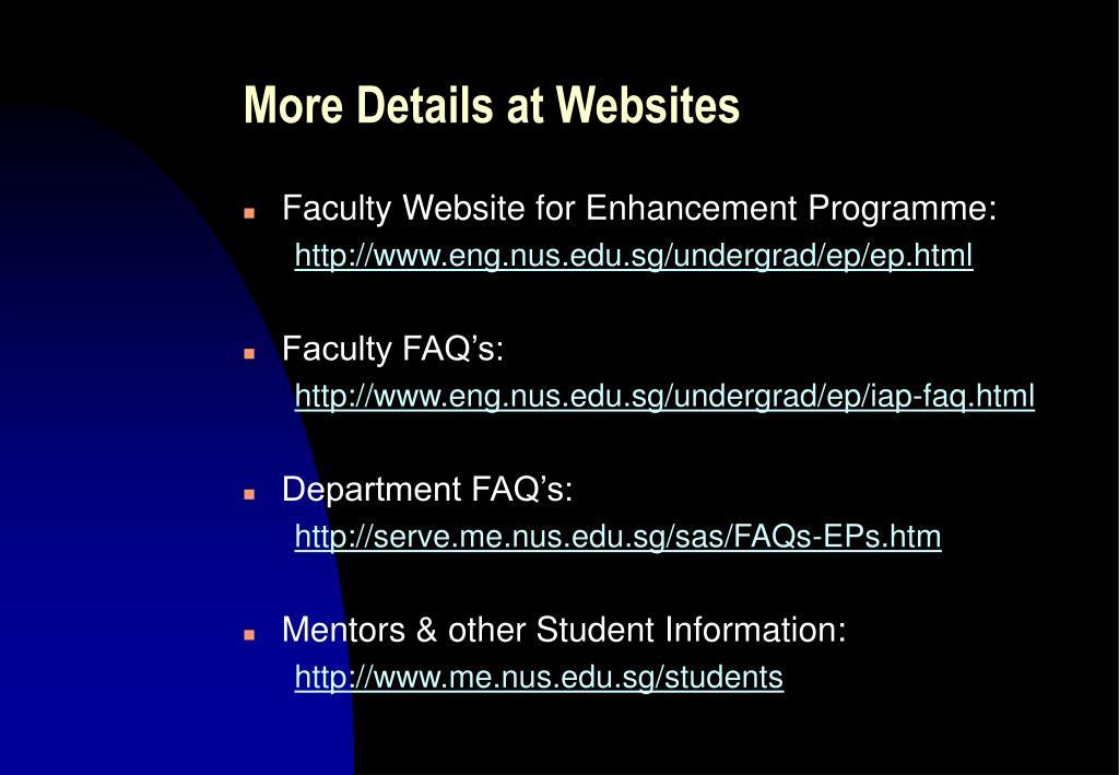More Details at Websites