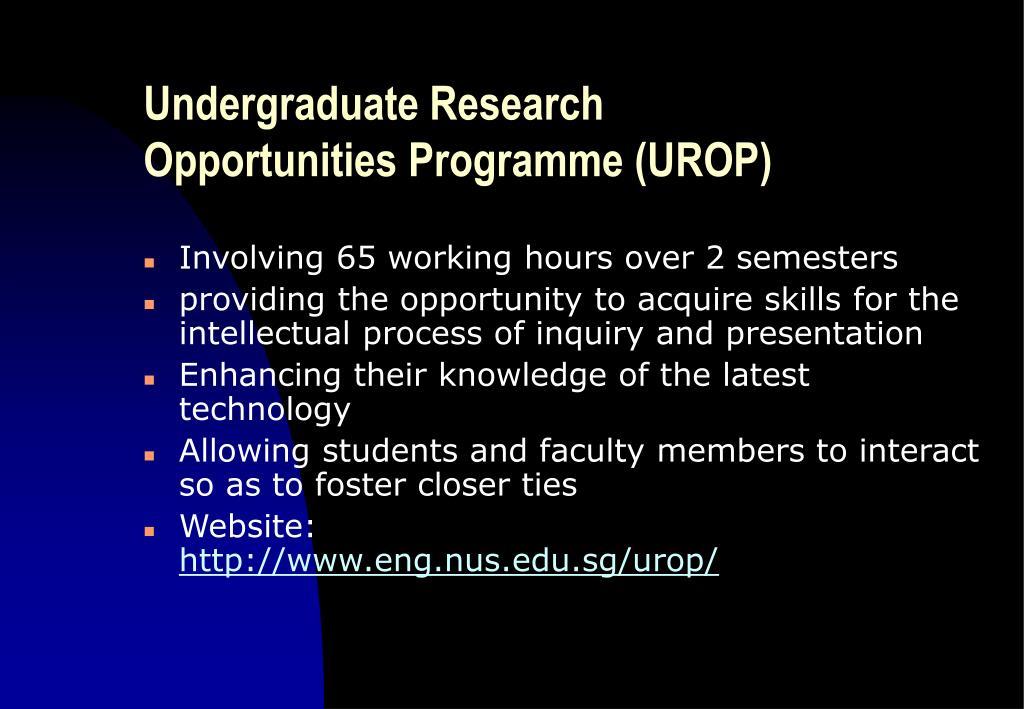 Undergraduate Research Opportunities Programme (UROP)