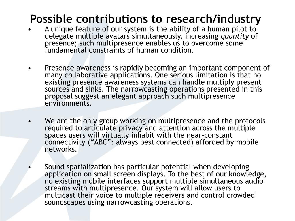 Possible contributions to research/industry