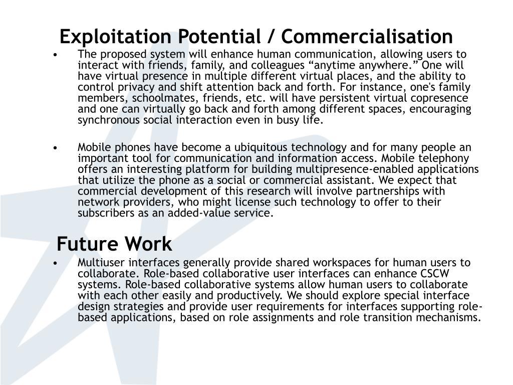 Exploitation Potential / Commercialisation