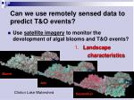 can we use remotely sensed data to predict t o events