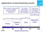 application of benchmarking results