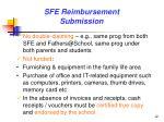 sfe reimbursement submission
