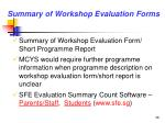 summary of workshop evaluation forms