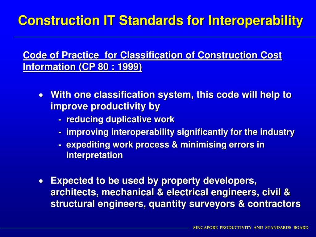 Construction IT Standards for Interoperability