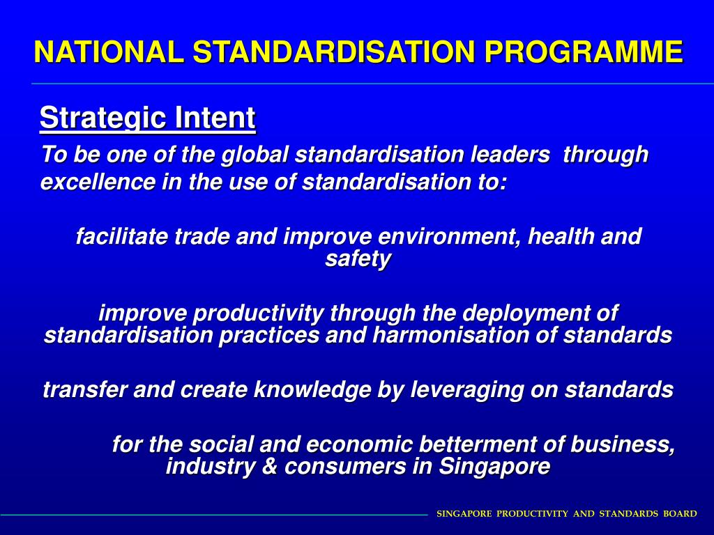 NATIONAL STANDARDISATION PROGRAMME