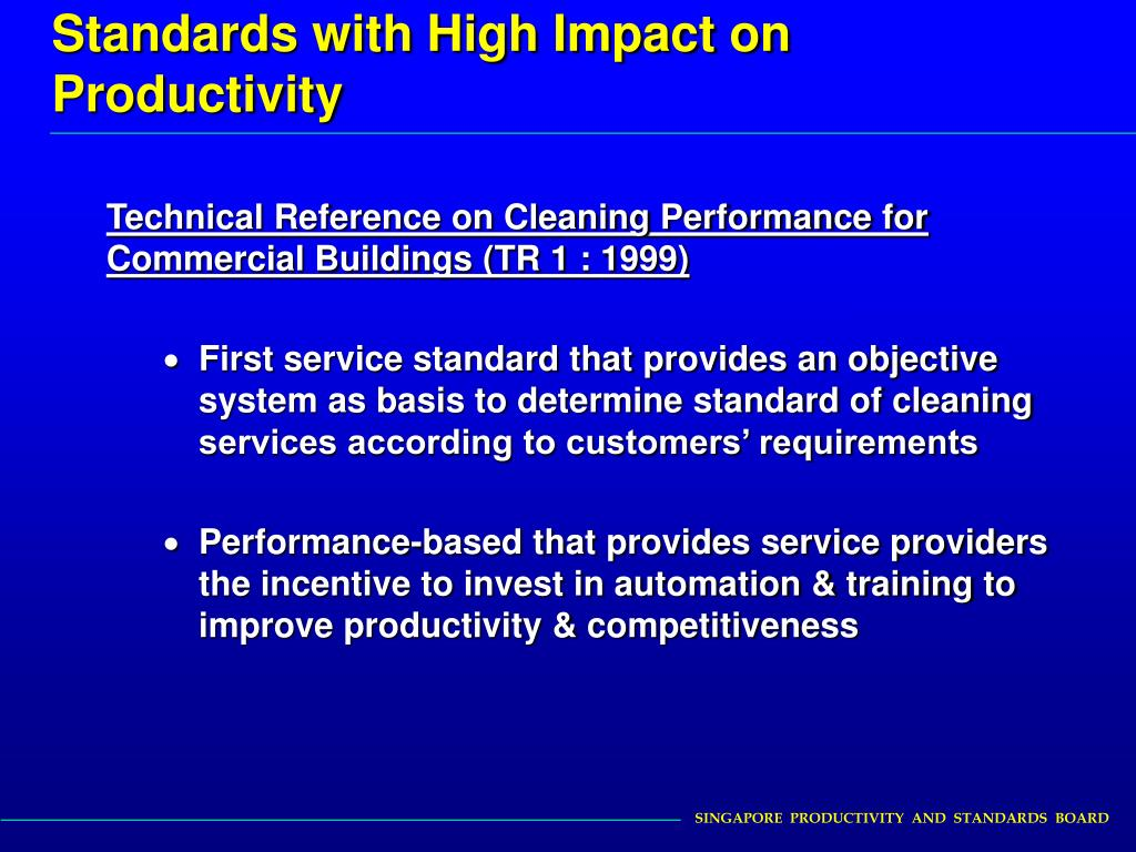 Standards with High Impact on Productivity
