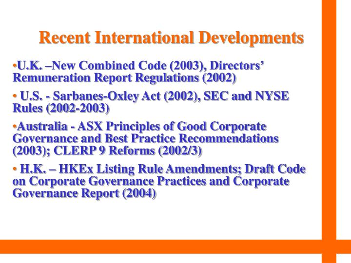 Recent international developments