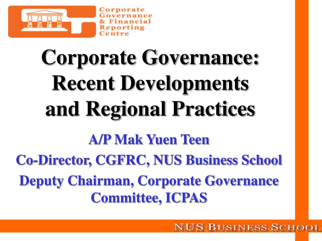 Corporate Governance: Recent Developments