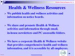 health wellness resources