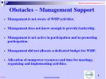 obstacles management support
