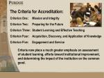 the criteria for accreditation