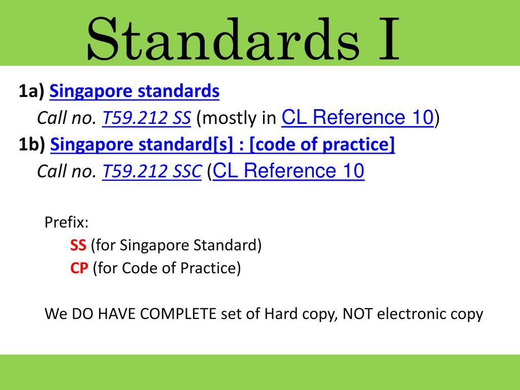 Standards I