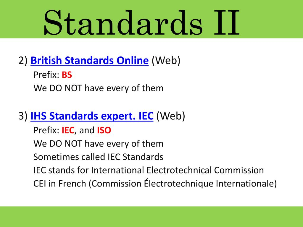 Standards II