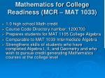 mathematics for college readiness mcr mat 1033