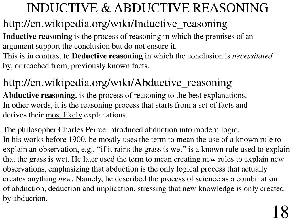 INDUCTIVE & ABDUCTIVE REASONING