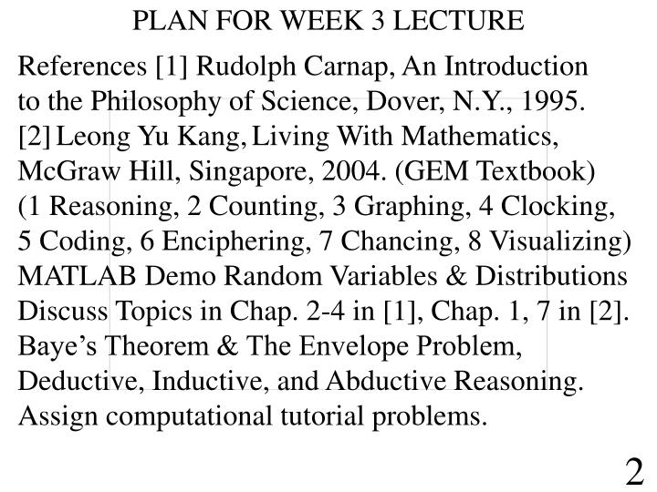 PLAN FOR WEEK 3 LECTURE