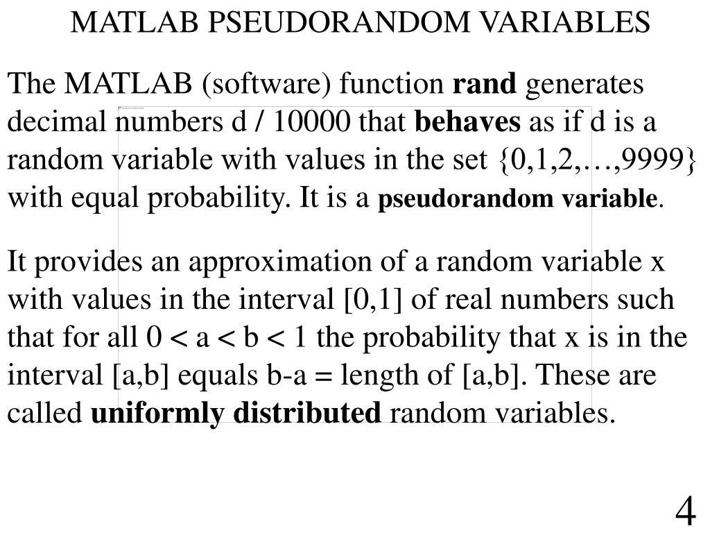 MATLAB PSEUDORANDOM VARIABLES