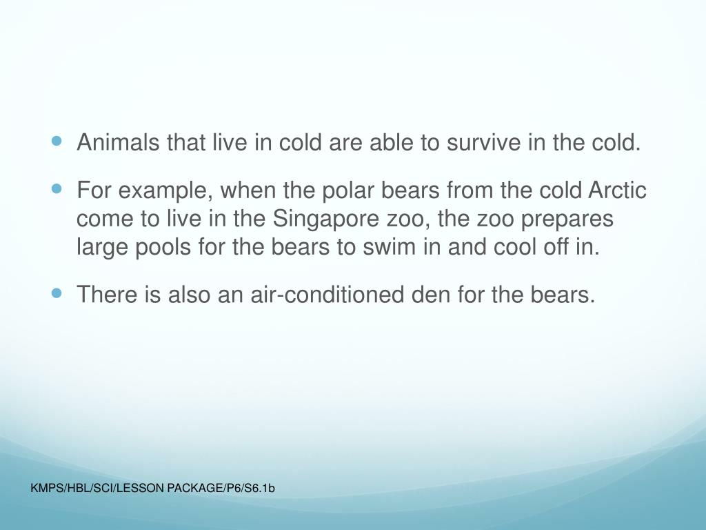 Animals that live in cold are able to survive in the cold.
