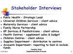 stakeholder interviews