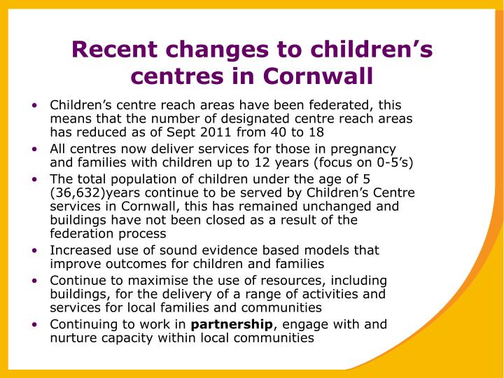 Recent changes to children's centres in Cornwall