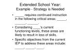 extended school year example strategy is needed