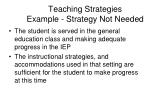 teaching strategies example strategy not needed