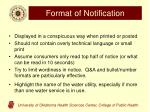 format of notification