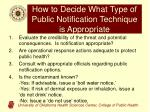 how to decide what type of public notification technique is appropriate