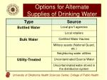 options for alternate supplies of drinking water